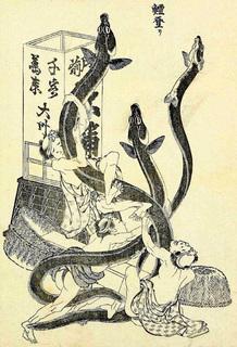 「鰻登り」(北斎漫画.jpg