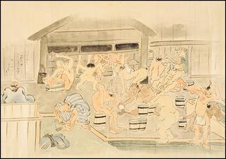 『職人尽絵詞』鍬形蕙斎(右下は上がり湯、湯船は中央奧にあり見えない).jpg