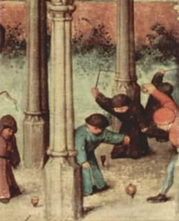 ピーテル・ブリューゲル「子どもの遊戯」の一部、子供がぶちゴマであそぶ図.jpg