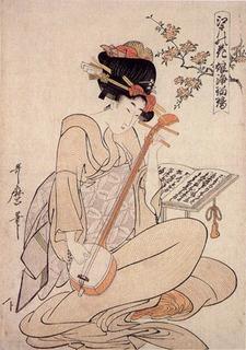 三味線を弾く女(喜多川歌麿「江戸の花 娘浄瑠璃」 .jpg