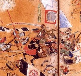 姉川合戦図屏風 この図では騎馬武者が馬上で柄の長い大太刀を両手で振るっている.jpg